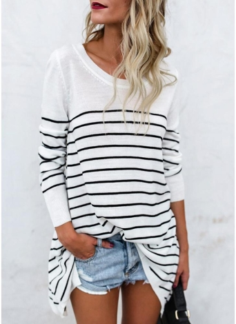Striped O Neck Long Sleeves Asymmetric Long Tee Shirt