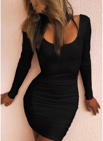 Scoop Neck manga comprida Backless Ruched Bodycon Mini Dress