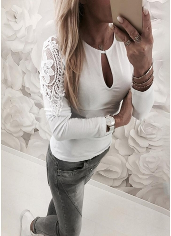 Mulheres T-shirt Crochet Lace Splicing Cut Out Long Sleeve Casual Tops