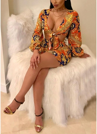 African Print Lantern Sleeve Deep V Neck Bow Mini Dress