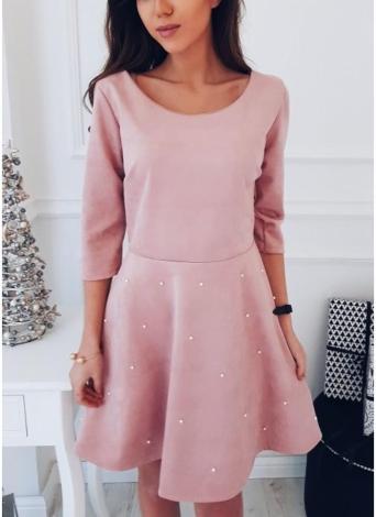 Вышитый бисером O-Neck 3/4 рукав с твердым A-Line мини-платье