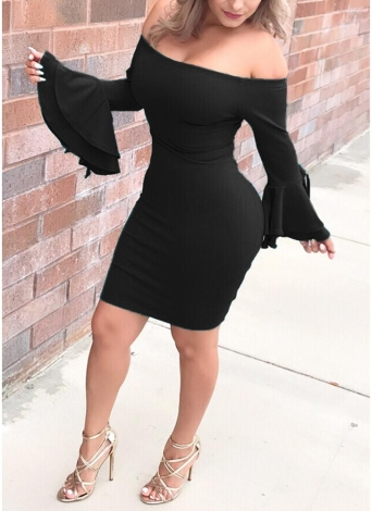 Off the Shoulder Flare Sleeve Ruffle Tie Solid Color Bodycon Pencil Mini Dress
