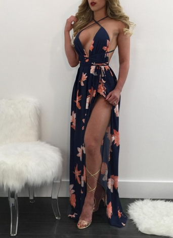 Femmes Maxi robe Floral impression Deep V Split Bandage Backless Beach longue robe coulissante