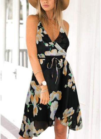Цветочная печать без рукавов Backless V шеи спагетти ремень шифон платье