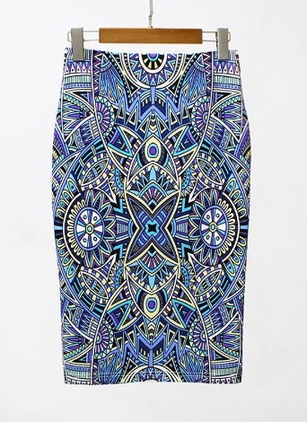 Eometric Print Taille haute Split Slim OL élégant Bodycon Midi Jupe