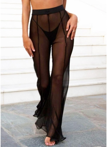 Women Sheer Mesh Wide Leg Pants Flare Pants  Palazzo Bell Bottom Pants