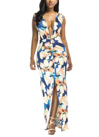 Floral Print Plunge V-Neck sans manches Split Ruched Maxi Slim Dress