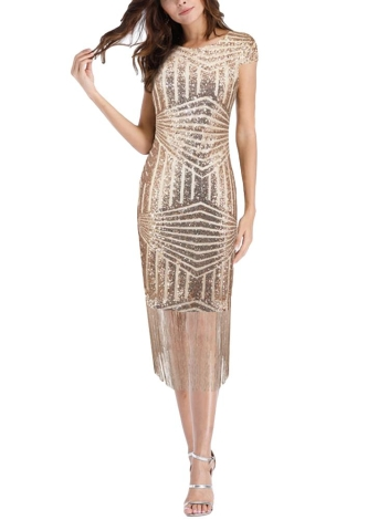 Женщины Sequins Платье Tassels Fringed Hem Sparkling Slim Bodycon Club Party Dress