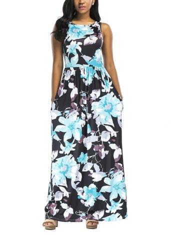 Цветочная печать без рукавов Бохо Beach Dress