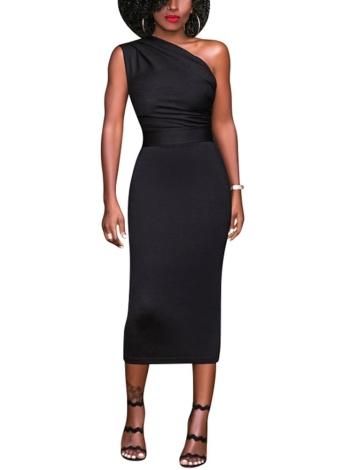 Одно плечо с высокой талией без рукавов Bodycon Midi Dress