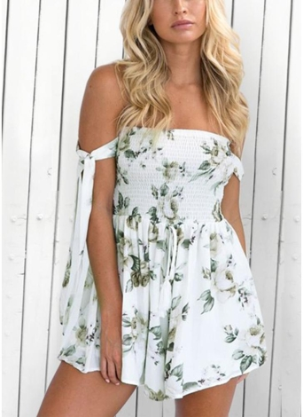 Mujeres Backless estampado floral mono con lazo mameluco Playsuit Beach Party overoles cortos