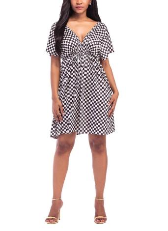 Плюс Размер Цветочные пледы Платье Глубокая V Шея V Назад Короткие рукава Эластичное платье с высокой талией