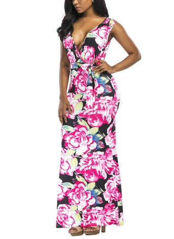 Contraste Floral Imprimir V profundo sem mangas cintura alta Maxi vestido vestido