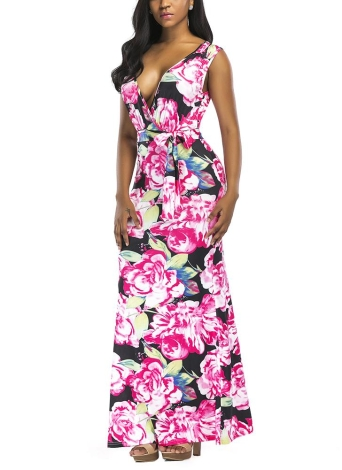 Contrast Floral Print Deep V Sleeveless High Waist Belt Maxi Gown Dress