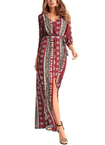 Chiffon Geometric Print V Neck 3/4 Sleeve Splits Maxi Gown Vintage Bohemian Dress