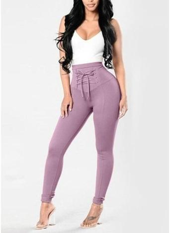 Lace Up Skinny Pants Calças de cintura alta lápis Calças finas sólidas