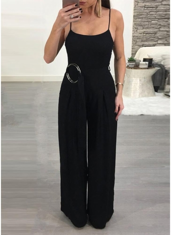 Spaghetti Strap Sleeveless Backless Wide Leg Pants with Belt Jumpsuit