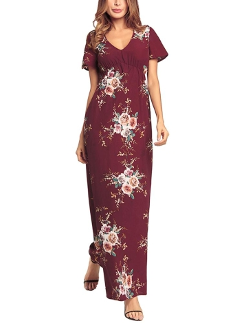 Boêmio Chiffon Floral Imprimir Deep V manga curta Magro Holiday Long Dress