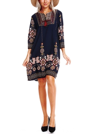 Ethnic Embroidered Front Vintage Floral Print Tassels 3/4 Sleeves Bohemian Loose Dress