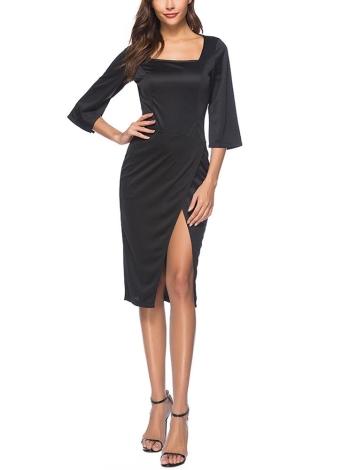 Solides, quadratisches Neck Half Sleeve High Split, figurbetontes Kleid