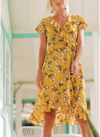 Boho Vintage Floral Ruffles V Neck Dress Short Sleeves Asymmetric Beach Dress