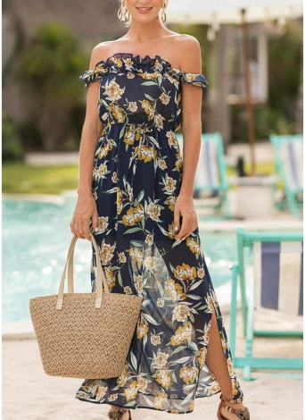 Boho Chiffon Off the Shoulder Dress Floral Print Split Maxi Dress