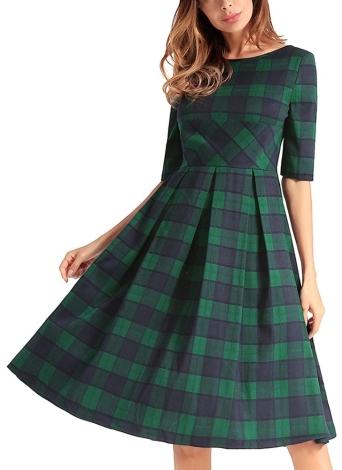 Vintage Plaid Check V Back Knee-Length Casual Party Dress