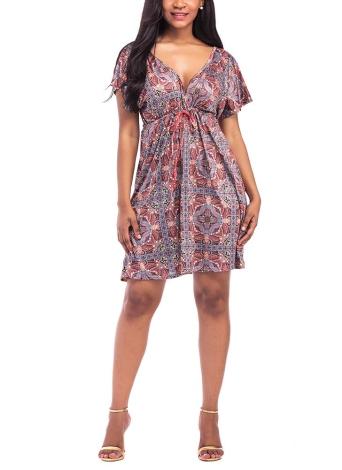 Плюс Размер Vintage Цветочные печать V Шея с коротким рукавом Хиппи Boho Smock платье