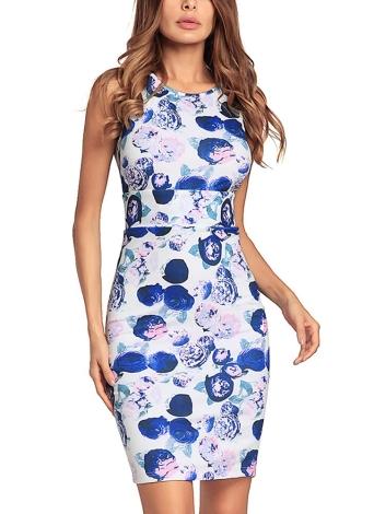 Floral Print Sleeveless O Neck Back Slit Bodycon Mini Dress