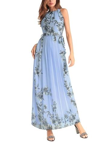 Boho Floral Chiffon Halter Sleeveless Maxi Dress