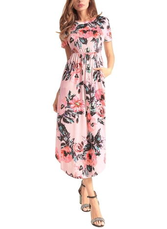 Floral Print O-Neck Short Sleeve Pocket Midi Dress