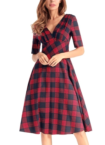 Plaid Checked V-Neck Short Sleeve Slim Vintage A-Line Dress