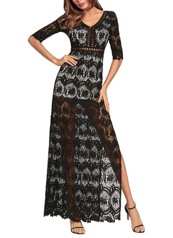 Hollow Out Crochet  V Neck Half Sleeve Thigh Slit Maxi Dress
