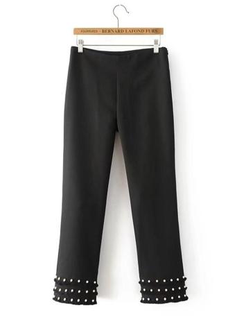 Tassel Pearls High Waist Side Zipper Casual Solid Trousers