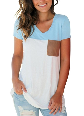Color Splice Short Sleeves V Neck Casual Top
