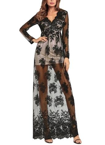 Sheer Mesh Вышитые V шеи с длинными рукавами Высокое талия Maxi Dress