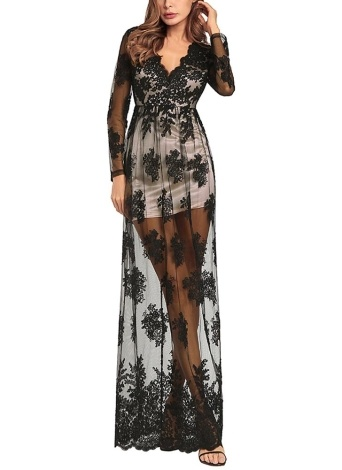 Sheer Mesh Embroidered V Neck Long Sleeves High Waist Maxi Dress