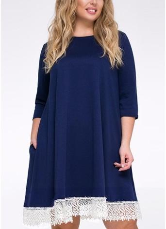 Plus Size Lace Hem O-Neck 3/4 bolsos de manga solta Mini vestido