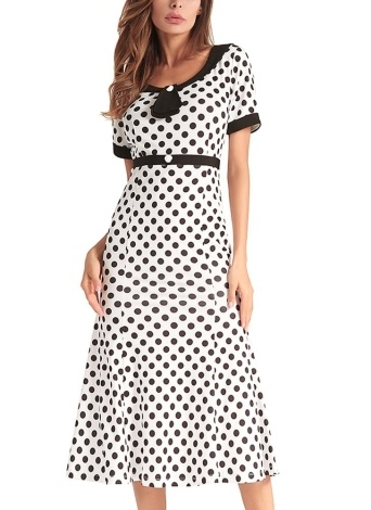 1950-е годы Vintage Women Polka Dot Платье Bodycon Elegant Mermaid Long Dress