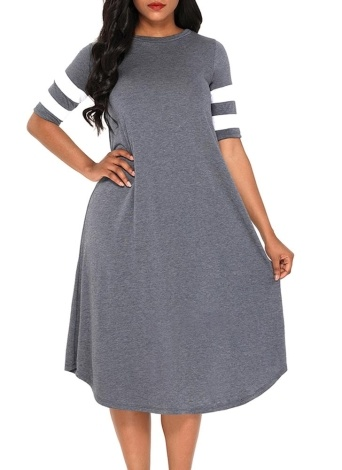 Women Midi Jersey Dress  Striped Half Sleeve Summer Beach Holiday Flowy Dress
