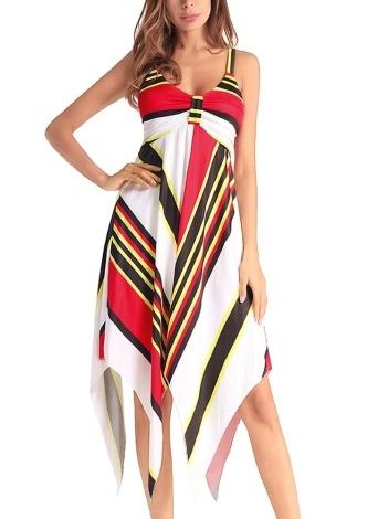 Women Striped Beach Dress Irregular hem Midi  Summer Party Dress Sundress