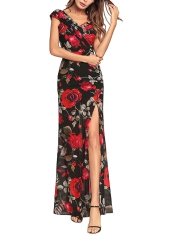 Femmes robe en mousseline de soie Maxi imprimé floral Split Cross Ruched Boho longue robe