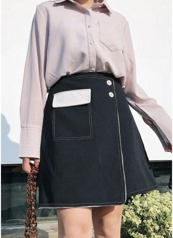 Femmes Mini Jupe Color Block Asymétrique Haute Taille Casual Girls A-ligne Jupe