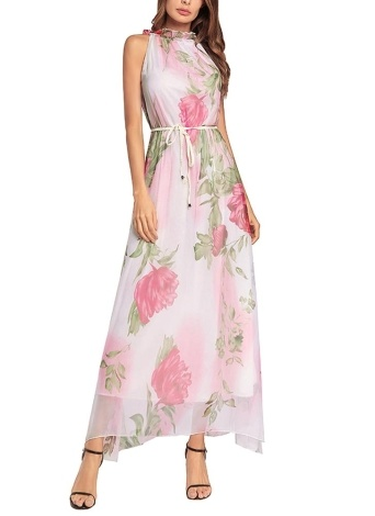 Women Chiffon Maxi Dress Floral Print Sleeveless Belt Sundress Beach Long Dress
