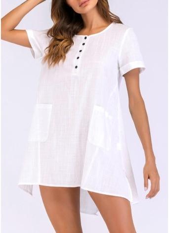 2d6c8297a325e1 2xl blanc Femmes Mini Robe Lâche Manches Courtes O-cou Split Pocket ...