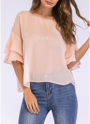 Women Chiffon Blouse Solid Color Ruffled Flare Sleeve Casual  Shirt T-Shirt Tops