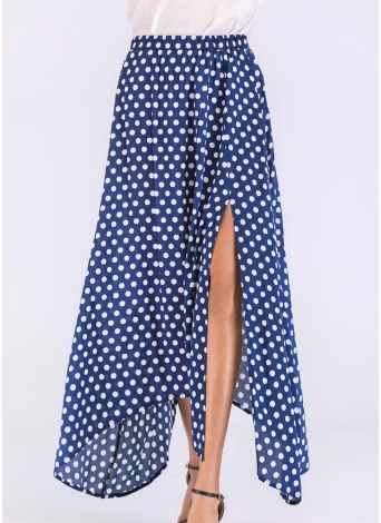 Women High Waist Polka Dot Maxi Skirt Side Slit  Summer Retro Long Skirt