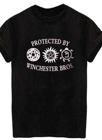 Femmes d'été Coton T-Shirt Lettre Imprimer Manche Roulée Casual Lâche Tops Tops