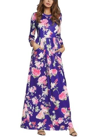 Femmes Bohème Maxi Dress Floral Print Sundress Beach Ruffle longue robe