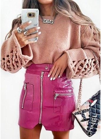 Faux cuir Zipper poche haute taille Streetwear Mini jupe